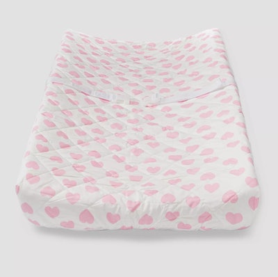 Baby changing pad cover; white with light pink hearts