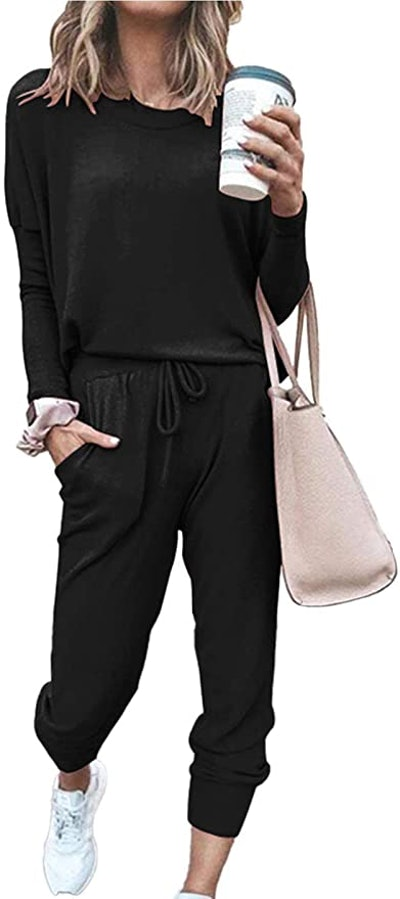 PRETTYGARDEN Two Piece Crewneck Pullover And Long Pants Sweatsuits