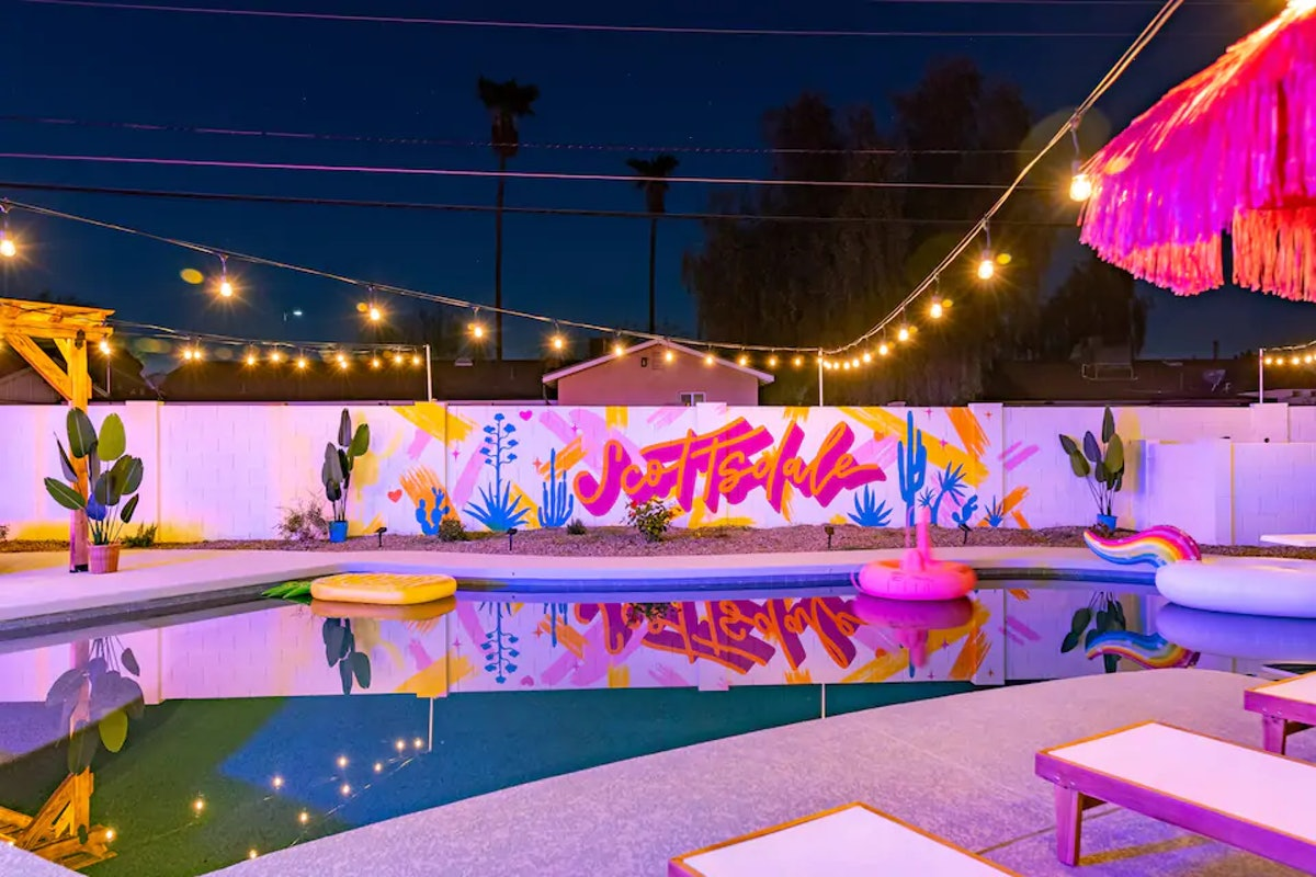 This 'Love Island'-inspired Airbnb in Scottsdale has a Instagram-worthy mural.