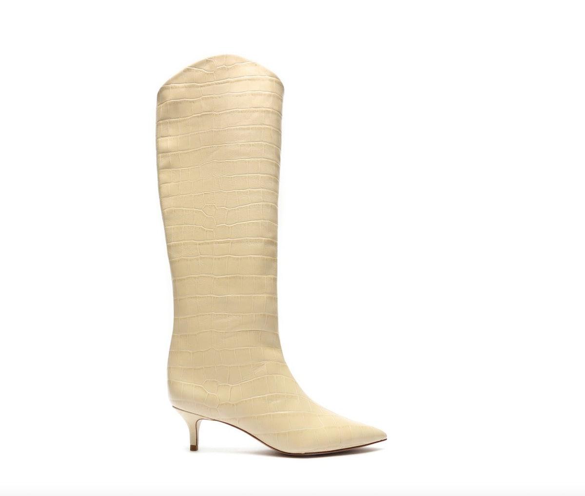 Maryana Lo Crocodile-Embossed Leather Boot