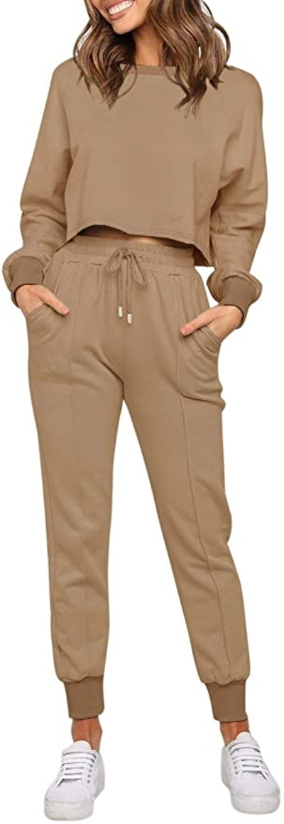 ZESICA Long Sleeve Crop Top and Pants
