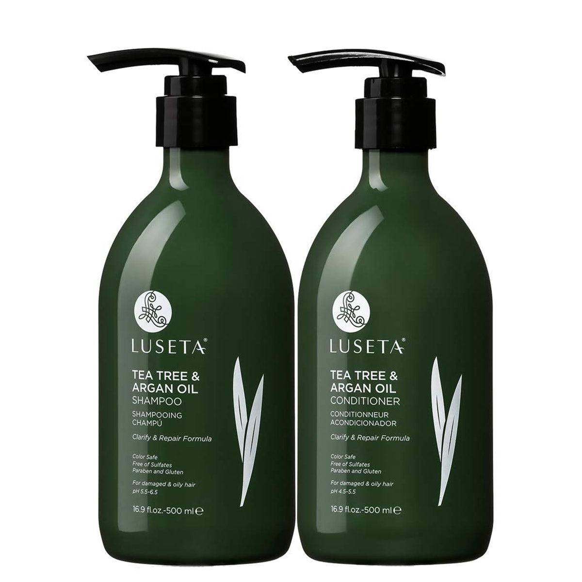 Luseta Tea Tree & Argan Oil Shampoo & Conditioner Set, 16.9 oz