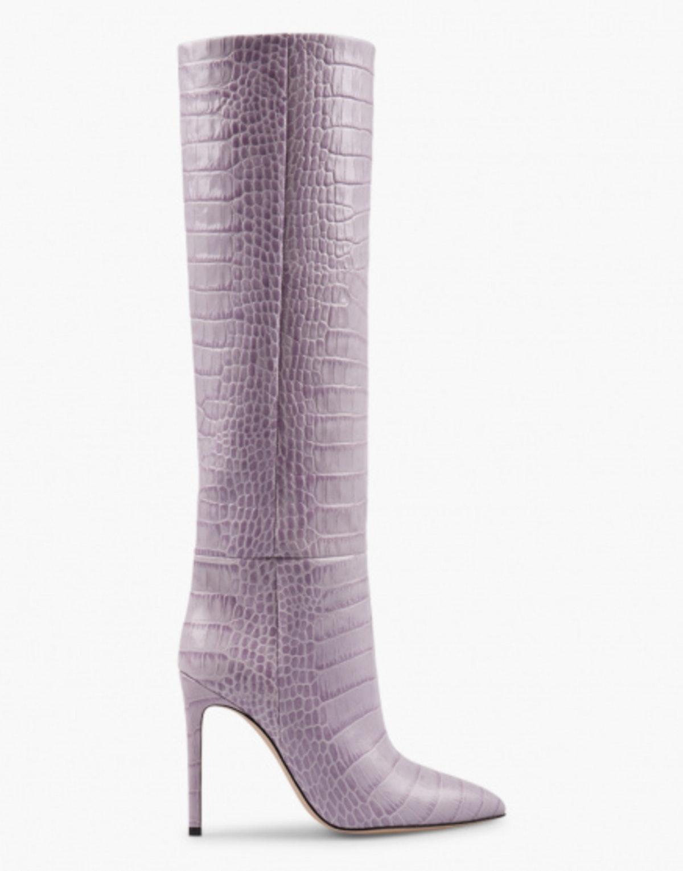Crocodile Embossed Leather Boots