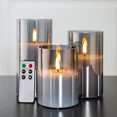 Eywamage Gray Glass Flameless Candles (Set of 3)