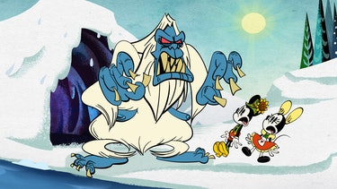 a Yeti monster scaring Mickey and Minnie Mouse on Swiss Meltdown