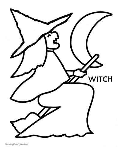 Witch Silhouette Coloring Page