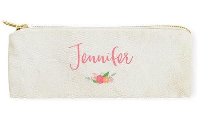 The Cotton & Canvas Co. Personalized Colored Floral Pencil Case