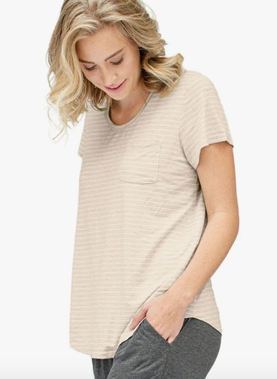a soft tan and white striped maternity and nursing t-shirt