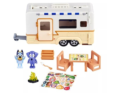 'Bluey' Camper playset; Bluey, Jean Luc, Camper, and accessories