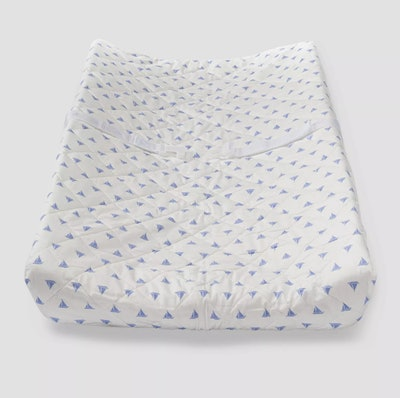 Baby changing pad cover; white with light blue sailboats