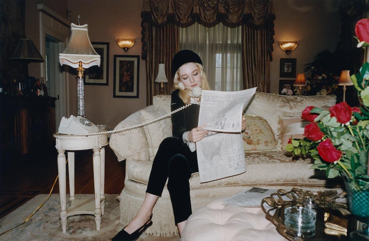 Julia Garner wears a Giorgio Armani jacket and pants; Ellen Christine Couture hat; Bulgari rings; Gu...
