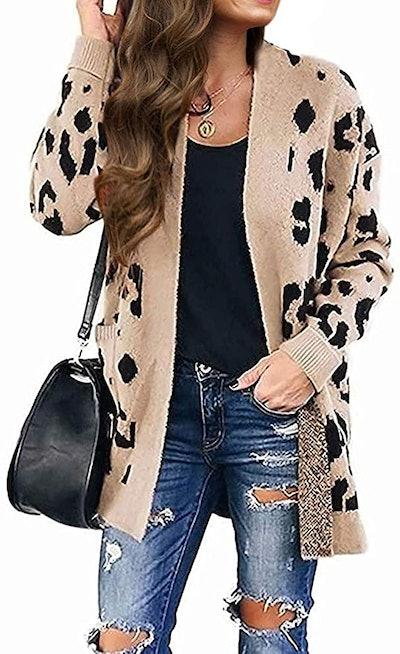 MEROKEETY Open Front Leopard Knit Cardigan
