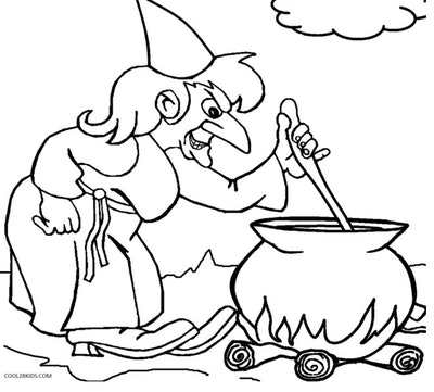 Witch With Cauldron Coloring Page