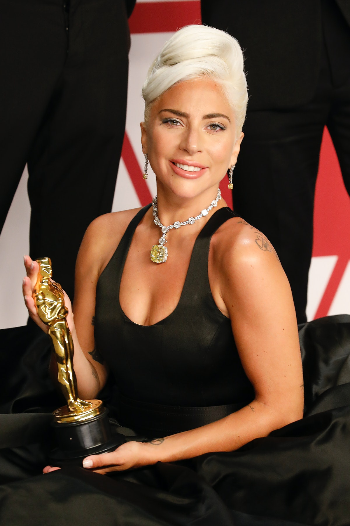 Lady Gaga (Best Original Song: 'Shallow' - A Star Is Born) poses in the press room at the 91st Annua...