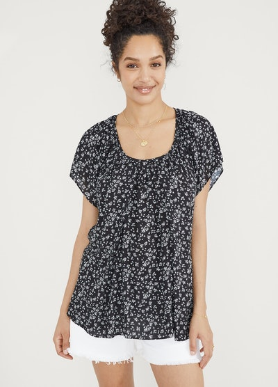 floral black and white shirt from Hatch, for nursing