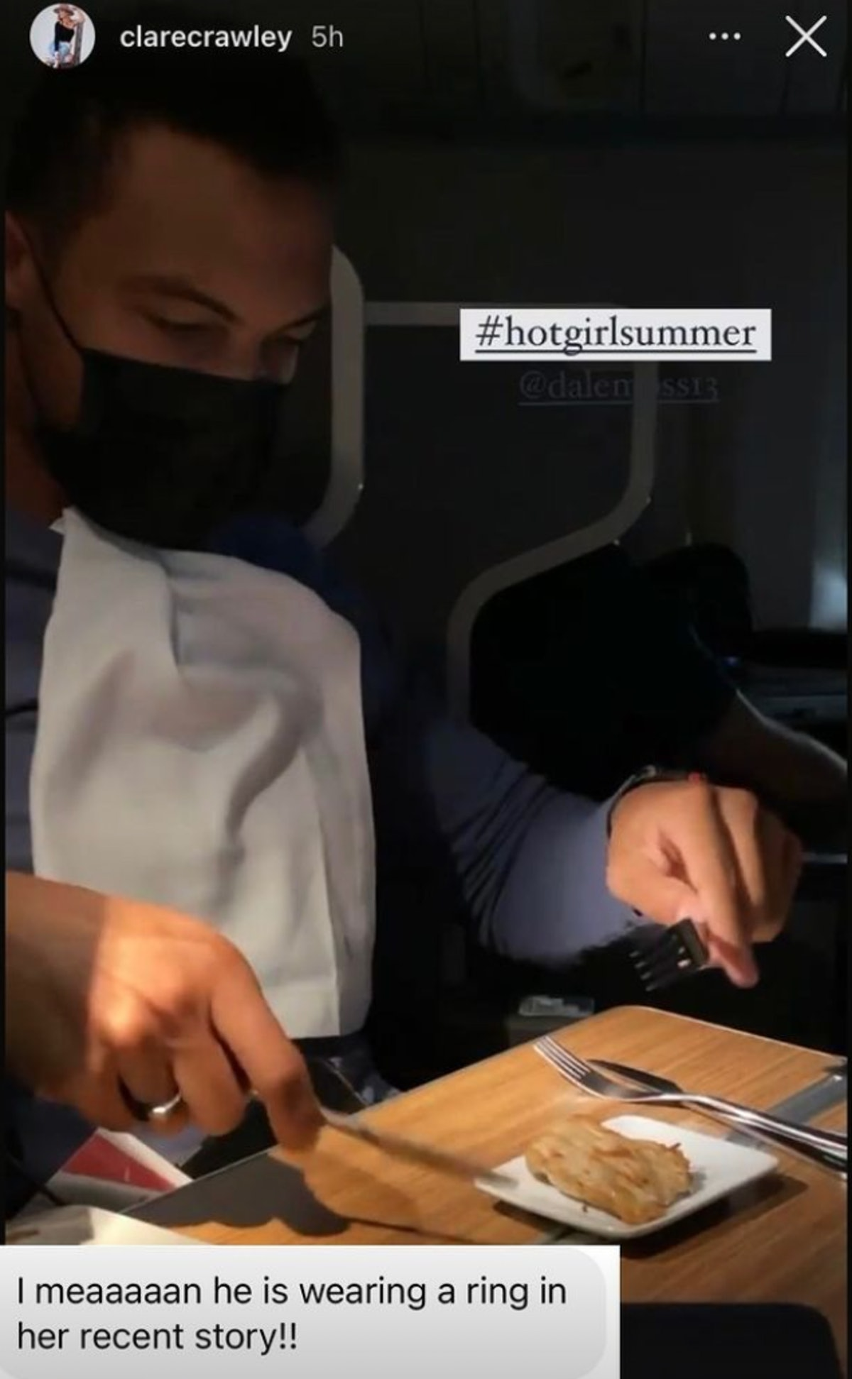 Dale Moss wearing what seems like a wedding ring on Clare Crawley's Instagram story.