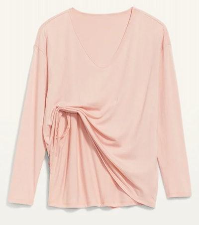 light pink maternity nursing shirt, double layer