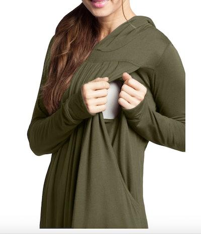 a green athleisure sweatshirt with nursing access