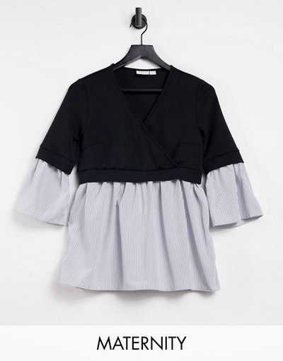 ASOS nursing and maternity shirt that looks like a button up with a sweater shrug over it