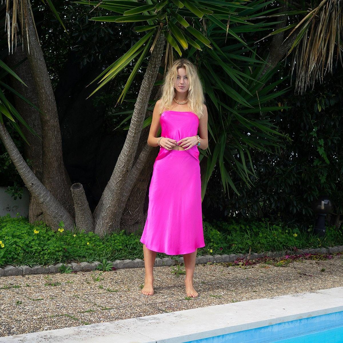 Shocking Pink Midi Skirt