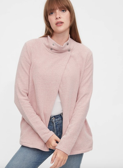 pink nursing sweatshirt from Gap with slit up the front and snaps on neck
