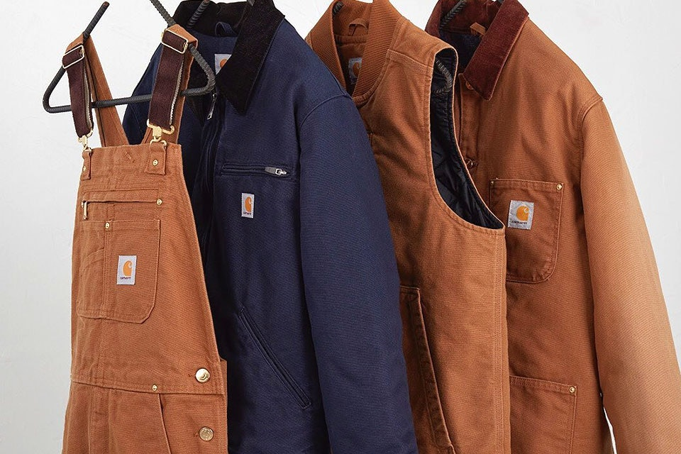 Carhartt overalls, chore jackets, and vest
