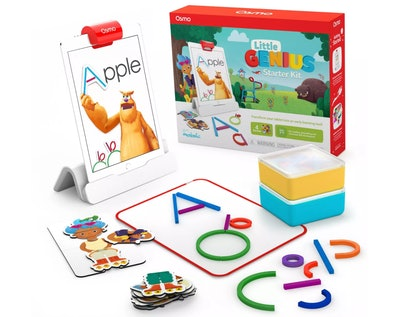 Product shot for kids tablet game; box, tablet, and accessories