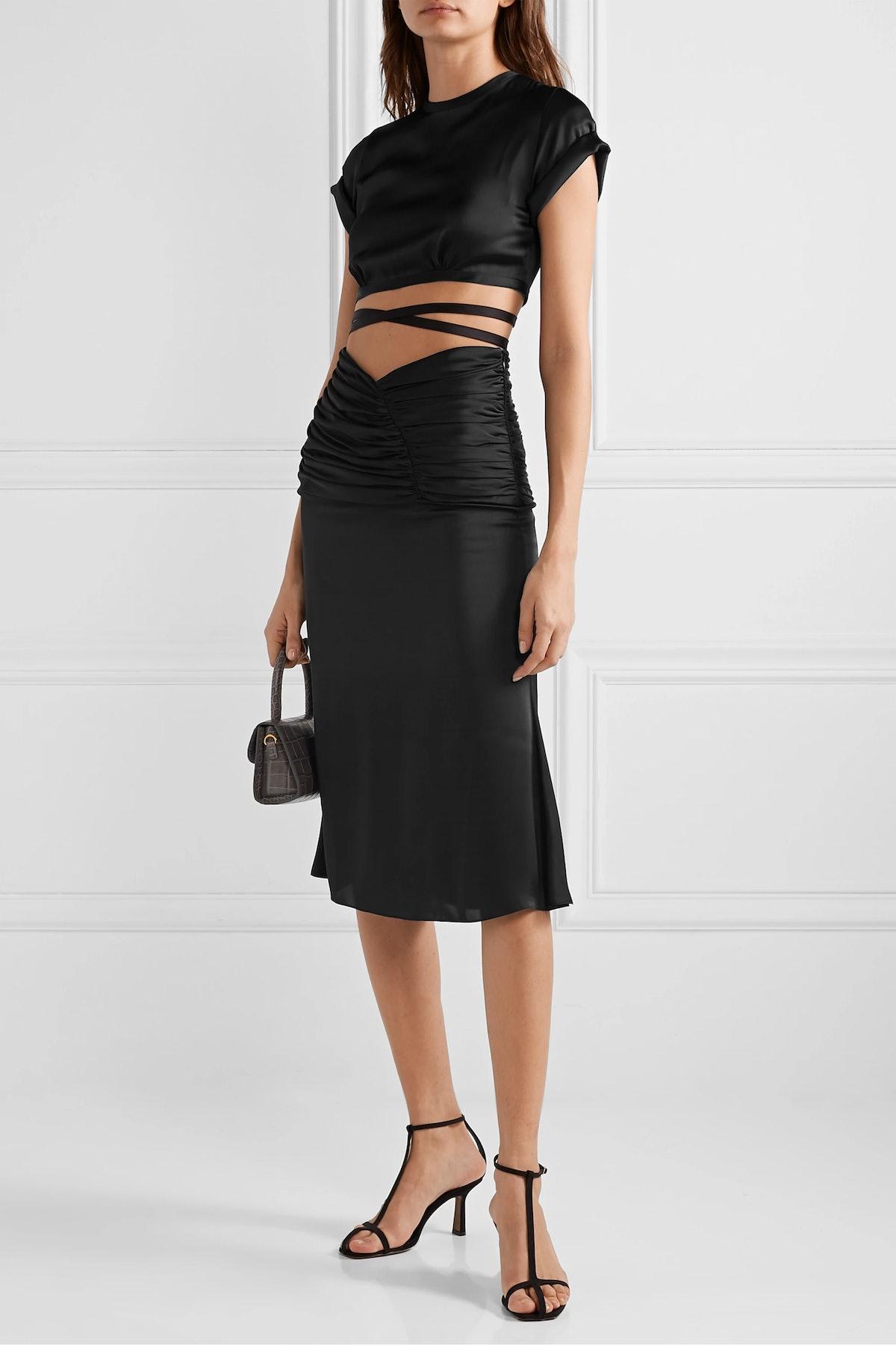 Romantique Ruched Satin Skirt