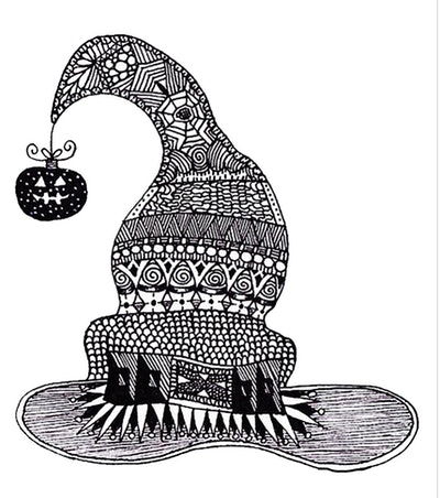 Intricate Witch's Hat Coloring Page