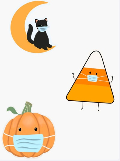 three halloween stickers, a pumpkin, a candy corn, and a black cat on a moon- all wearing blue face ...