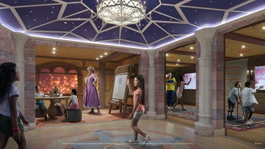 hologram princesses appearing in Fairytale Hall