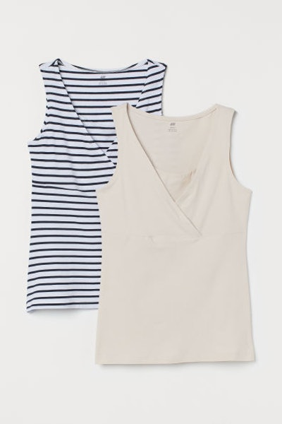 Two nursing tanks from H&M with plunge v-neck