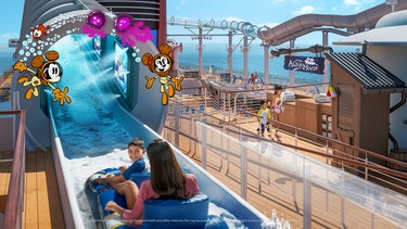 kids going down water slide with cartoons around it