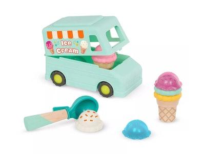 Toy ice cream truck, toy ice cream, scoop, and cones