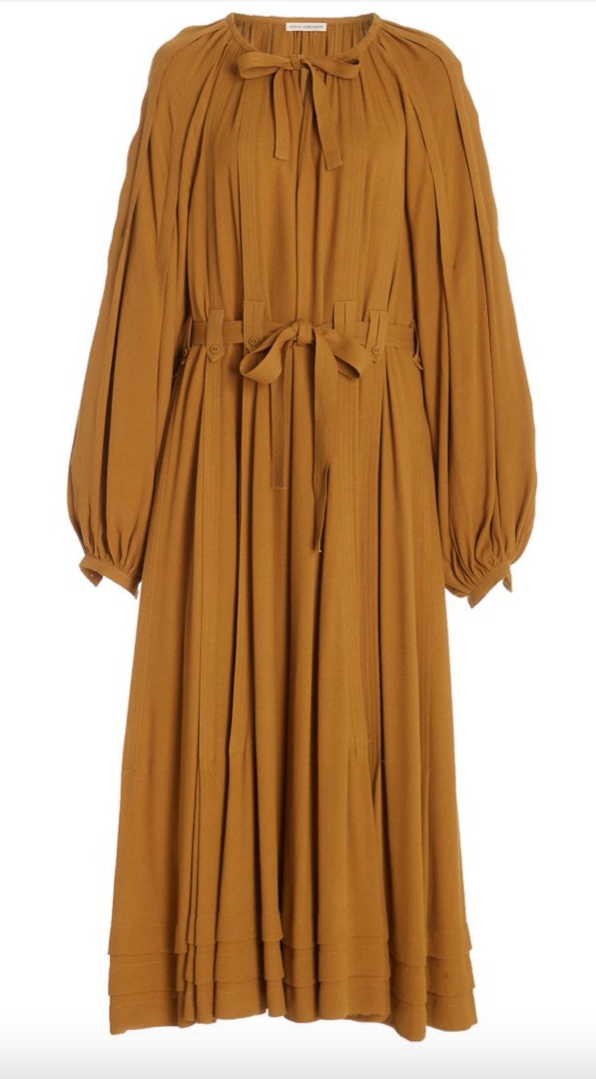 Ulla Johnson's caramel colored belted chiffon midi dress.