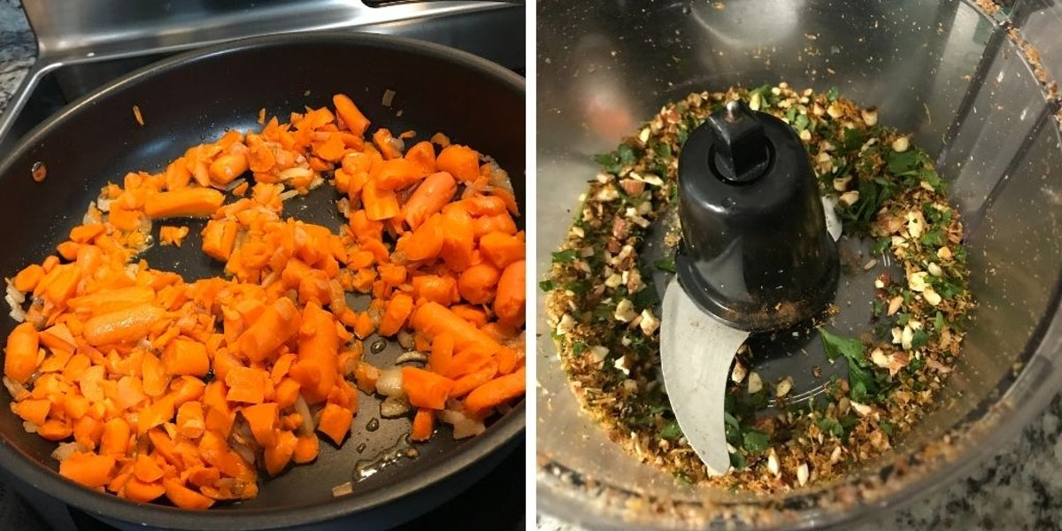 Chopped carrots cooking in a skillet and mixed herbs in a food processor