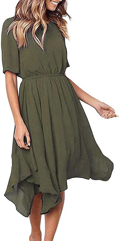 Alaster Chiffon Short Sleeve Casual Midi Dress