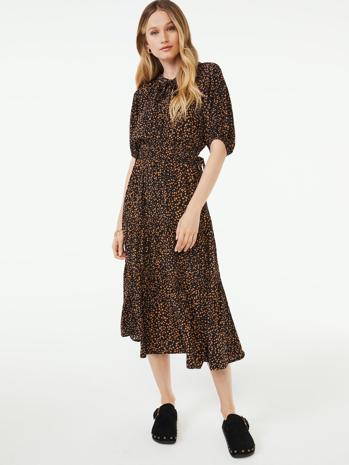 Split Neck Tiered Midi Dress