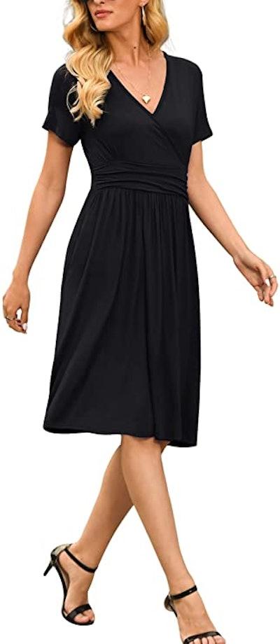 LILBETTER Short Sleeve V-Neck Dress
