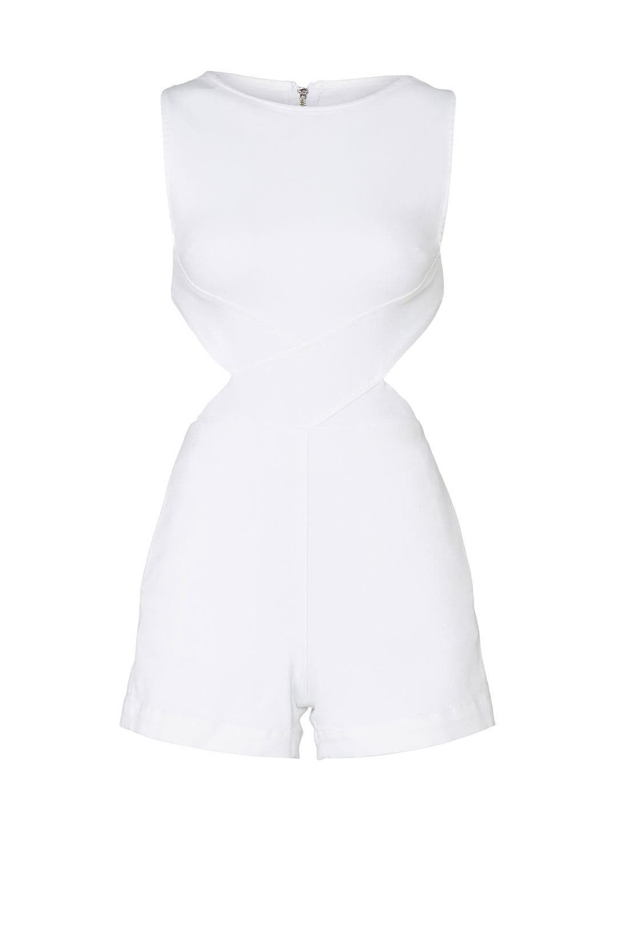 White denim Aspro  crossbody romper from 3x1, available to shop or rent via Rent The Runway.