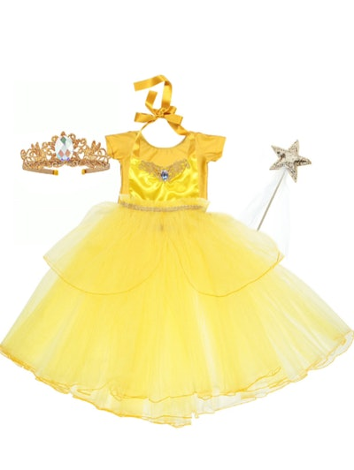 Flat-lay of a yellow dress, crown, and wand; Belle costume