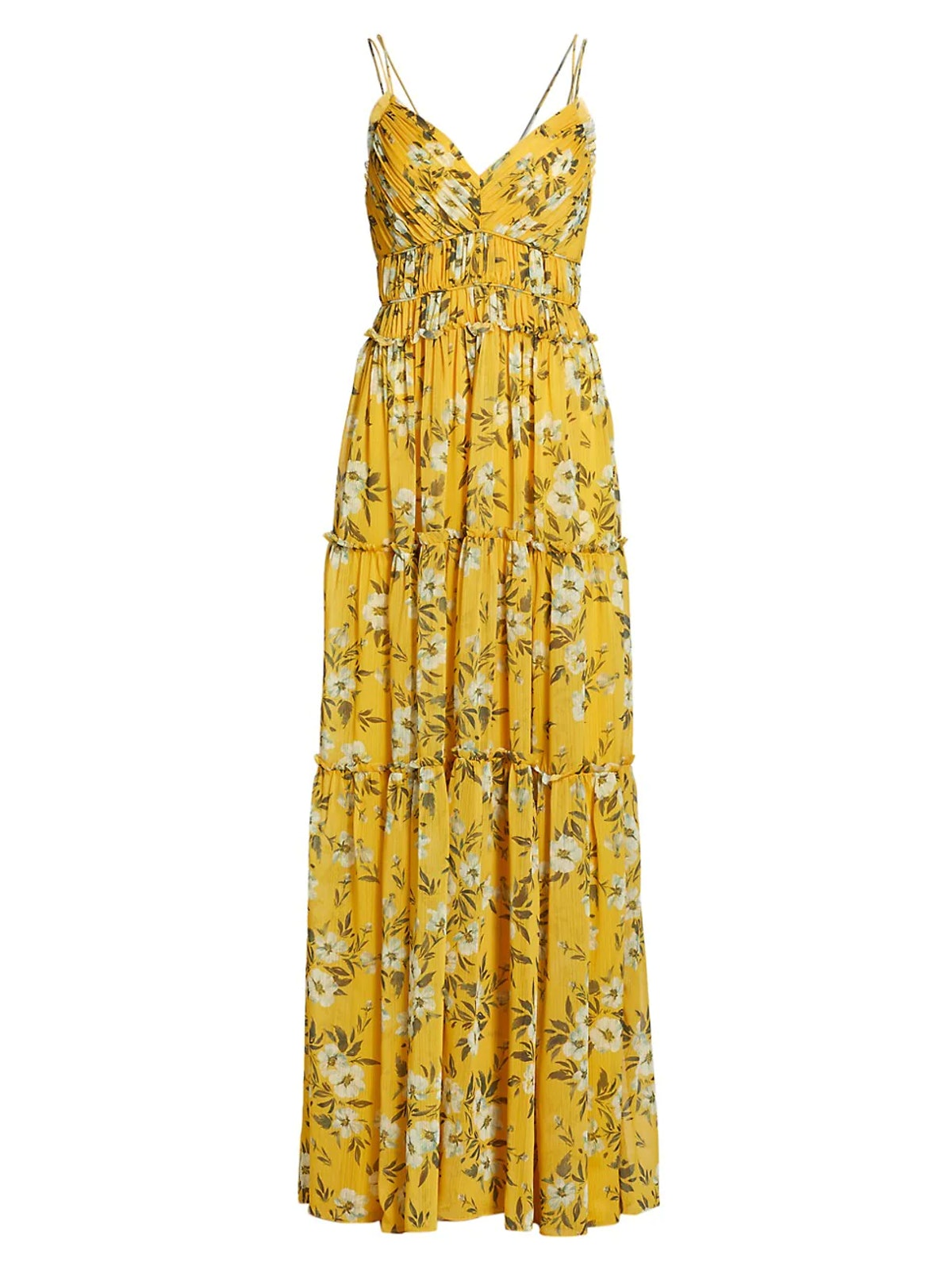 Pleated Chiffon Maxi Dress from ML Monique Lhuillier, available to shop on Saks Fifth Avenue.