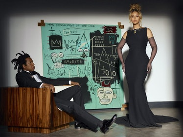 Jay-Z and Beyoncé in a Tiffany campaign with a painting by Jean-Michel Basquiat