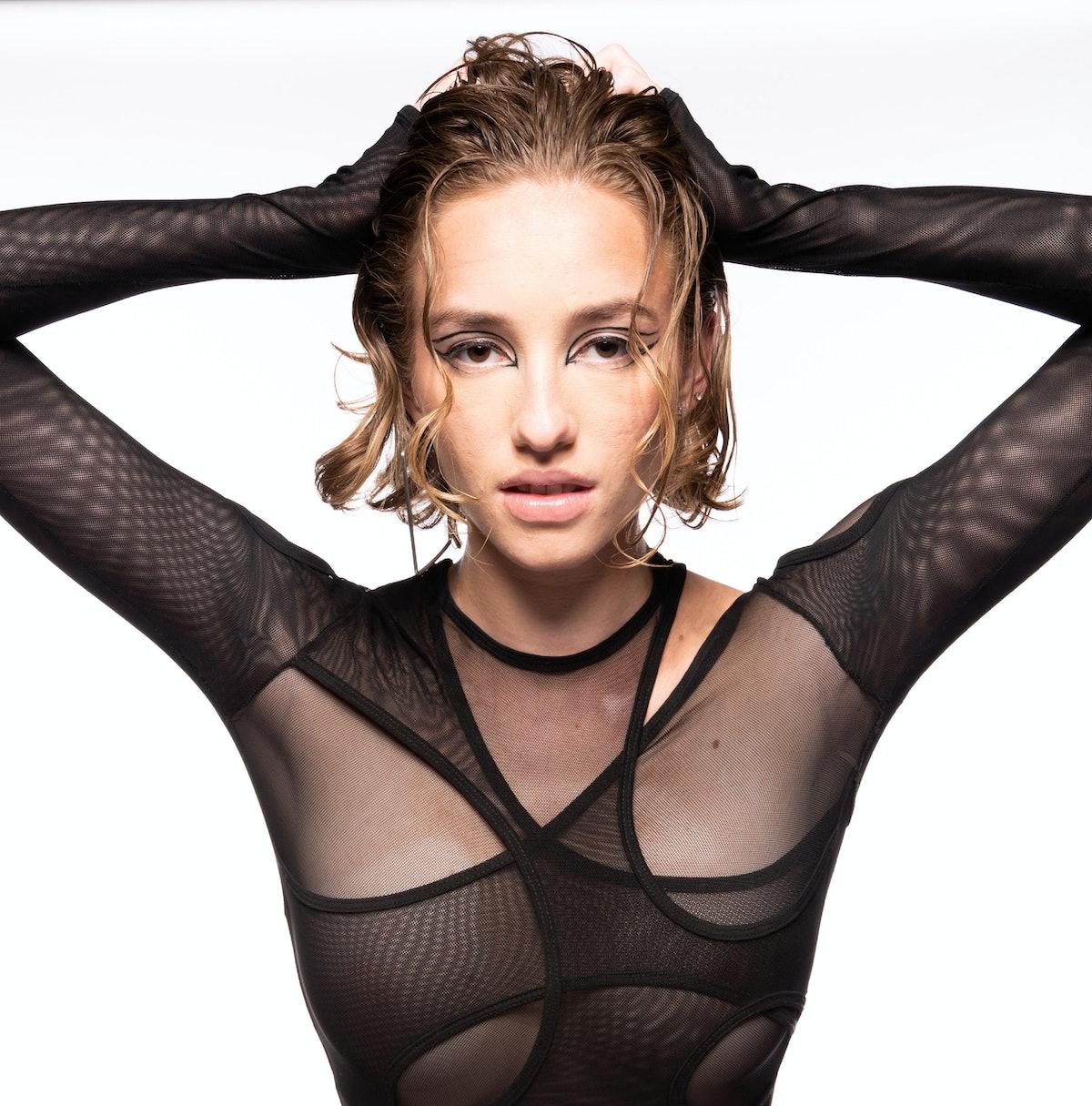 Model wears Clarissa Larrazabal's tangled bodysuit.