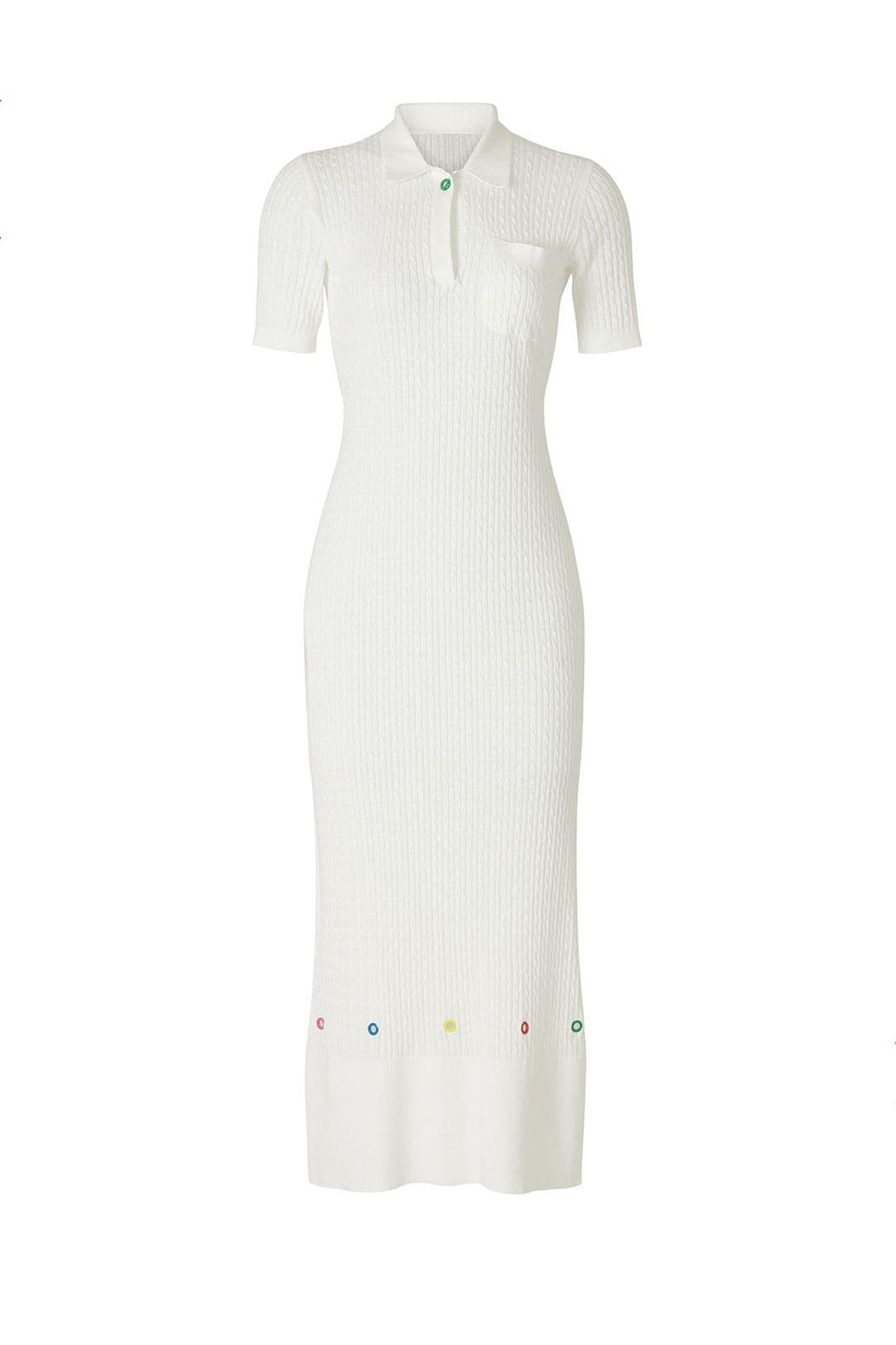White Cecily knit dress from STAUD, available to shop or rent via Rent The Runway.