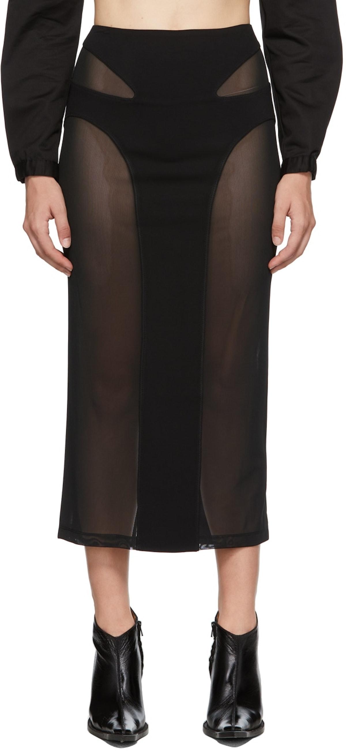 Dion Lee Black Mesh Contour Skirt