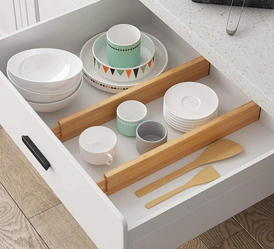 BAMEOS Adjustable Bamboo Drawer Dividers (4-Pack)