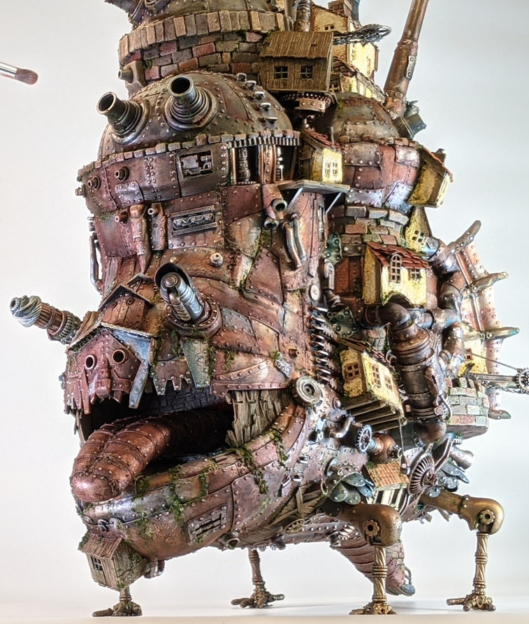 A model of Howl's Moving Castle from Studio Ghibli and Hiyao Miyazaki made out of junk. Movies. Film...