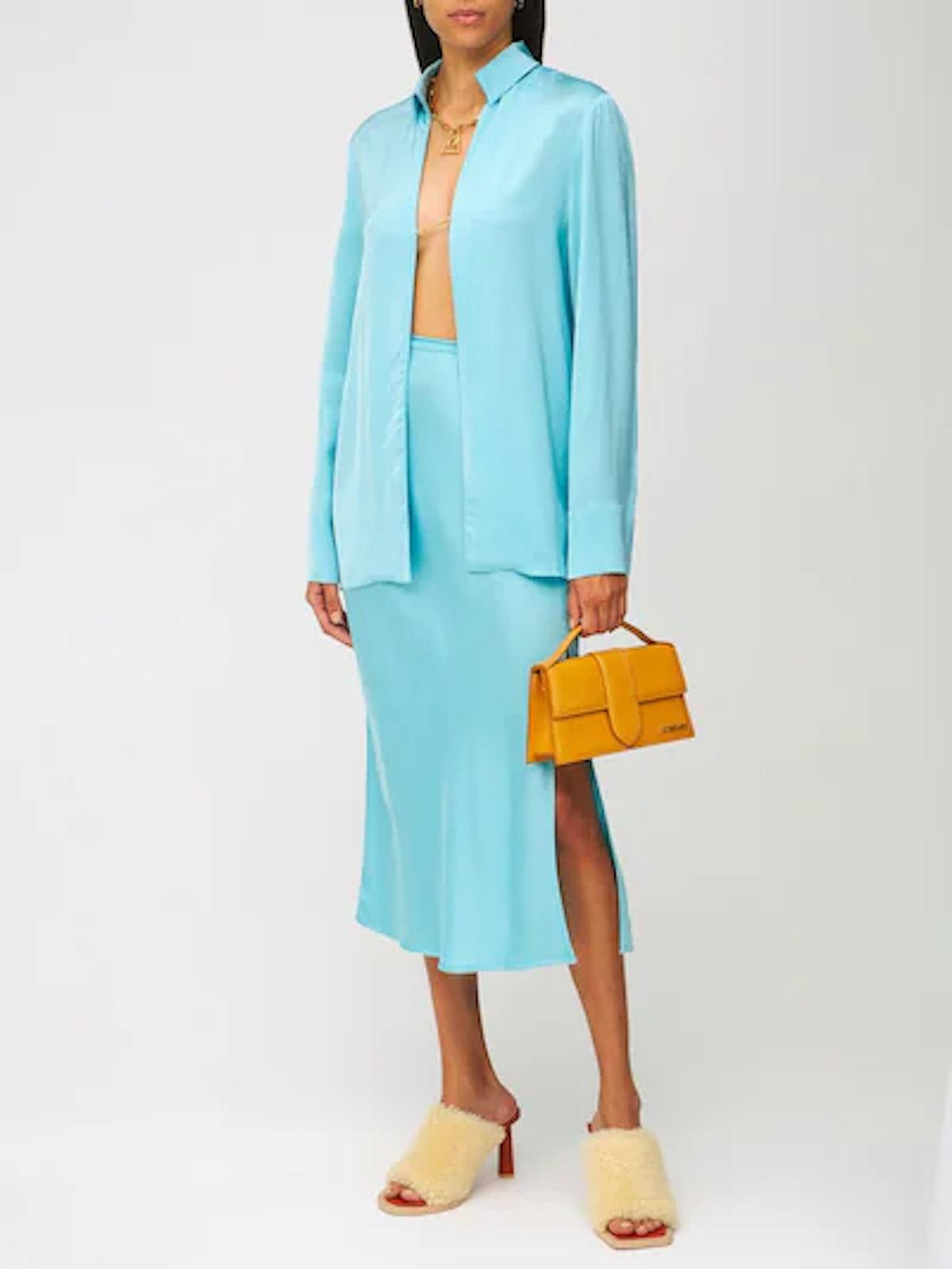 La Jupe Notte Satin Midi Skirt