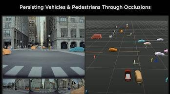 Tesla's autonomous car labeling system in action.